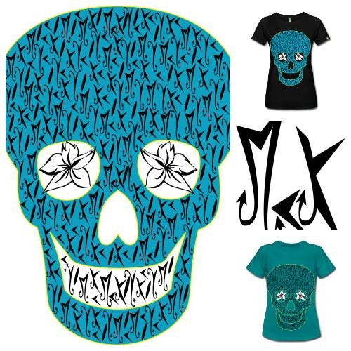 Camisetas de Diseño Blue Skull McKoy - Tienda Online de Camisetas